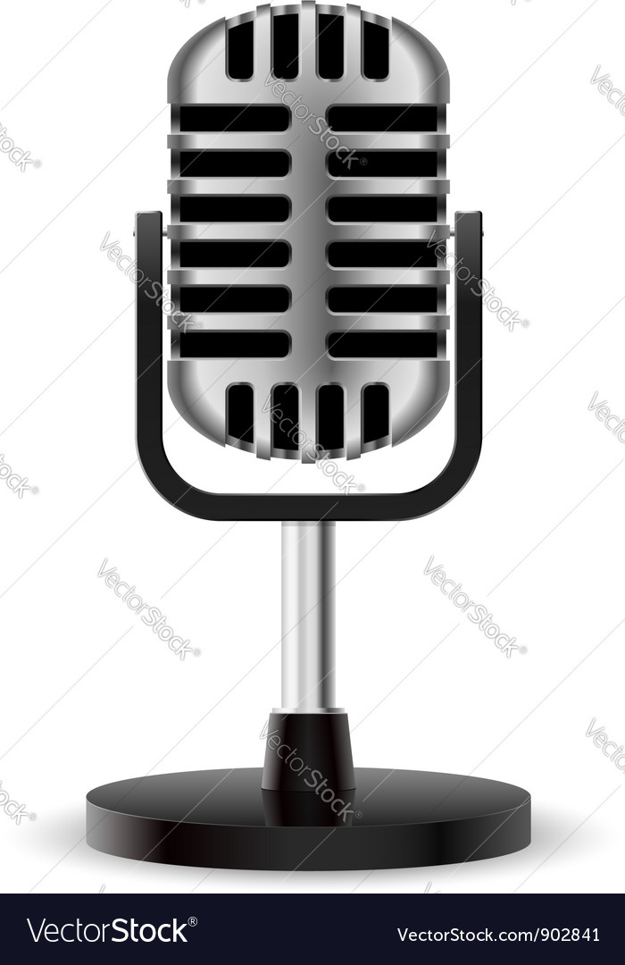 Realistic retro microphone vector | Price: 1 Credit (USD $1)