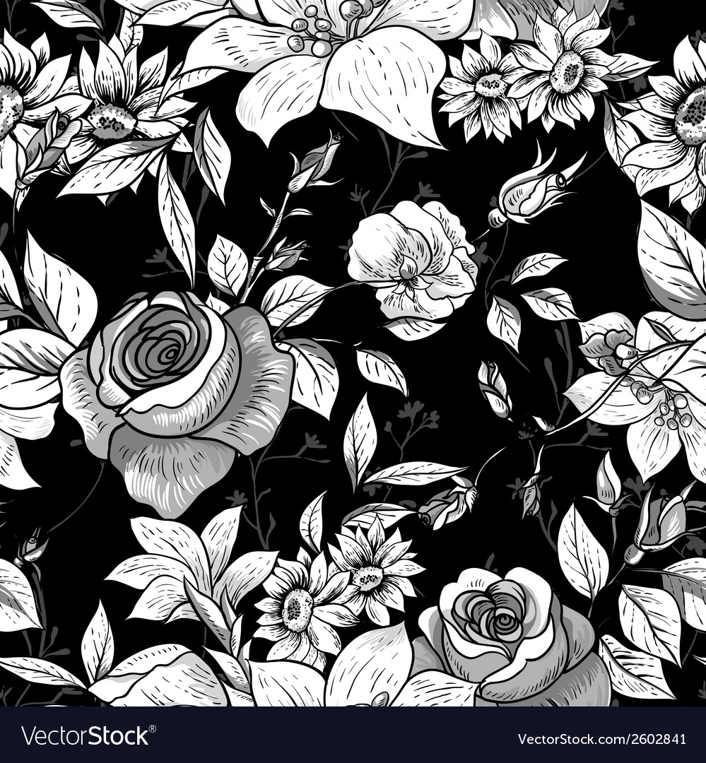 Seamless monochrome floral background with roses vector | Price: 1 Credit (USD $1)
