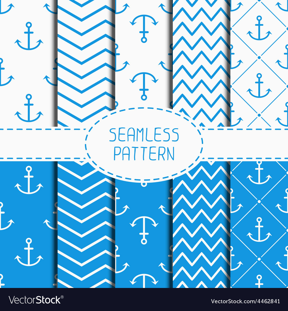 Set of blue marine geometric seamless pattern with vector | Price: 1 Credit (USD $1)