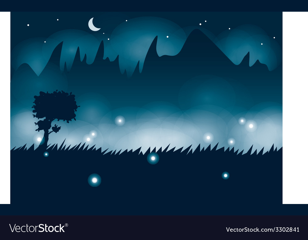 Summer night with fireflies vector | Price: 1 Credit (USD $1)