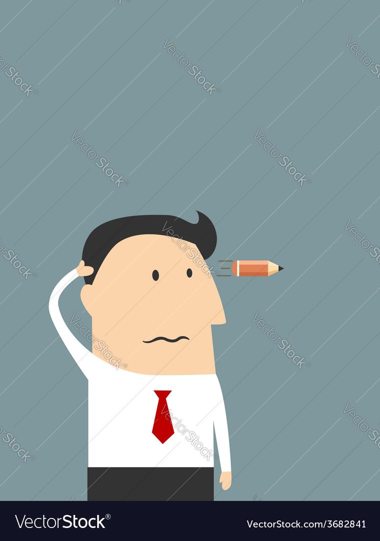 Tired cartoon businessman showing suicide gesture vector