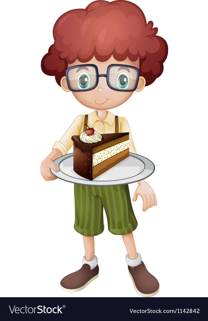 A smiling kid and a slice of cake vector | Price: 1 Credit (USD $1)