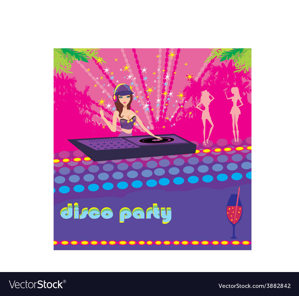 Beautiful dj girl and girls dancing at a party vector | Price: 1 Credit (USD $1)