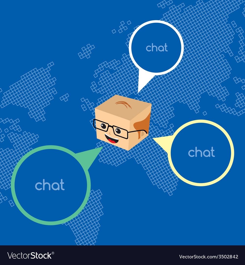 Block isometric cartoon chat vector | Price: 1 Credit (USD $1)