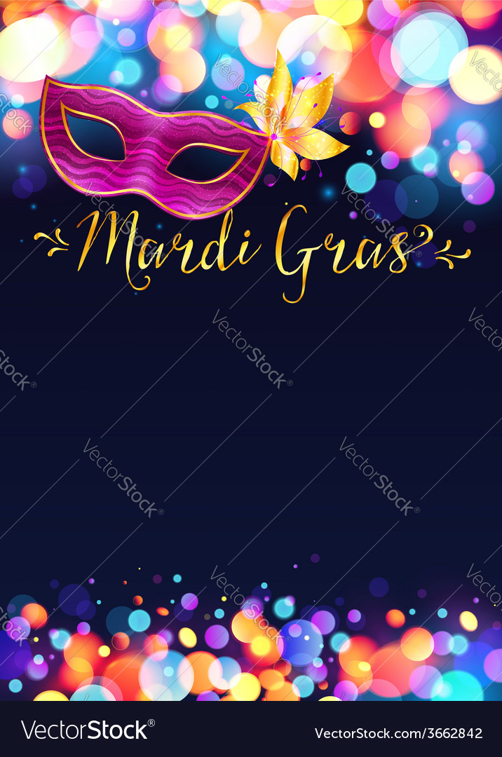 Bright mardi gras poster template with bokeh vector | Price: 1 Credit (USD $1)