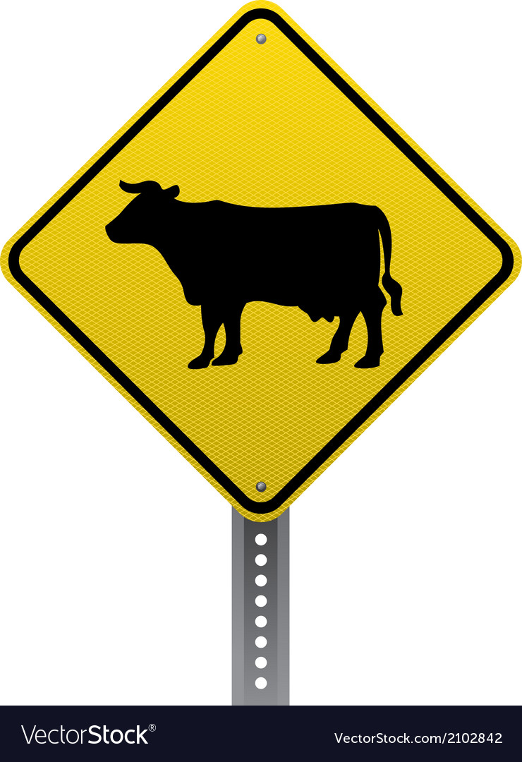 Cattle crossing sign vector | Price: 1 Credit (USD $1)