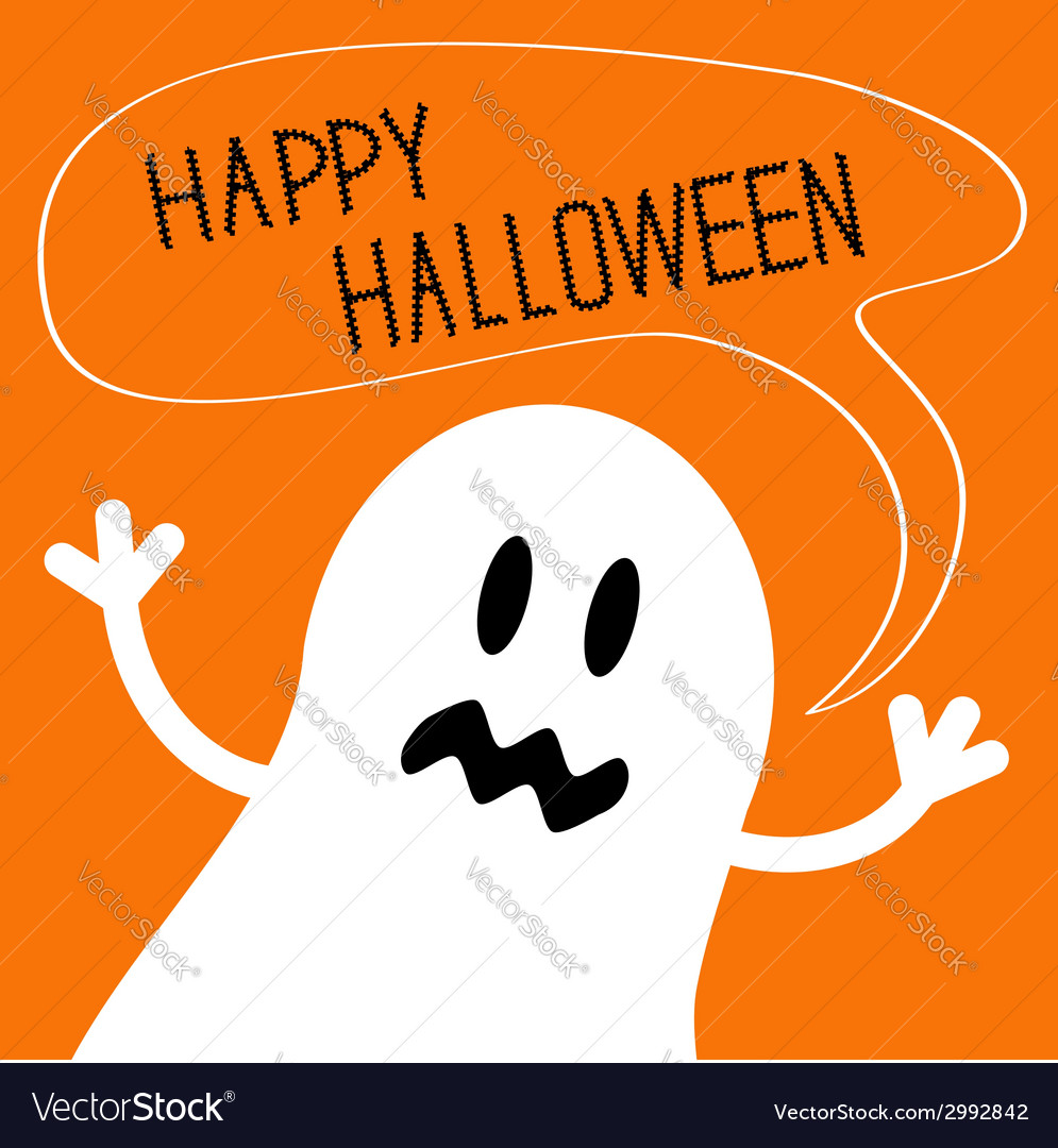 Cute ghost monster with speech text bubble vector | Price: 1 Credit (USD $1)