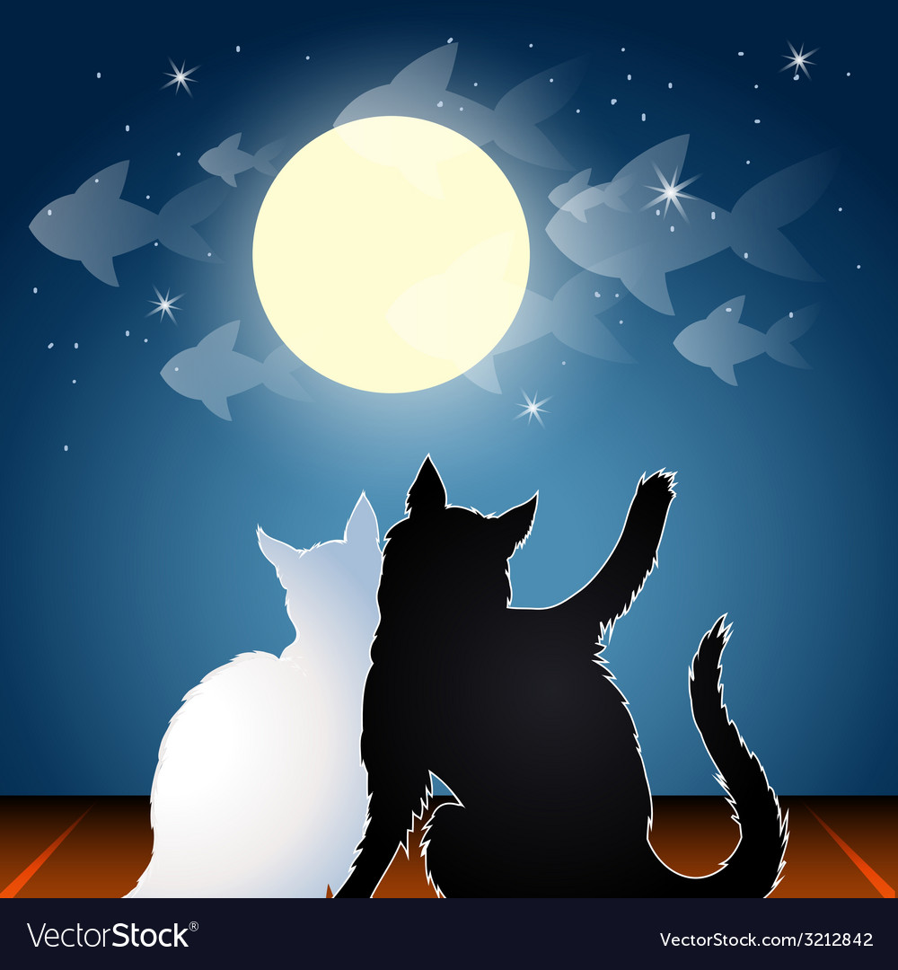 Dreaming cats on a roof vector   Price: 1 Credit (USD $1)