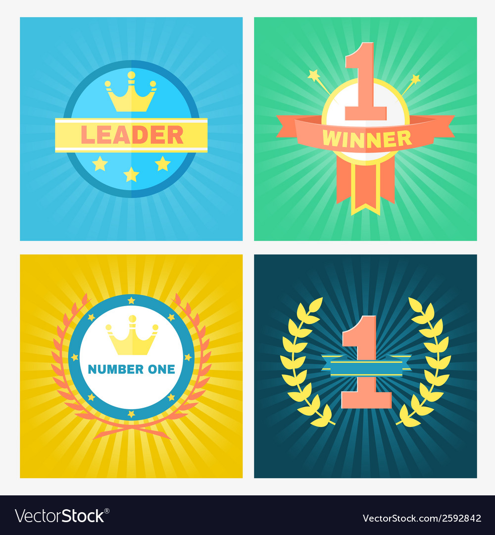 Flat winner emblems vector | Price: 1 Credit (USD $1)