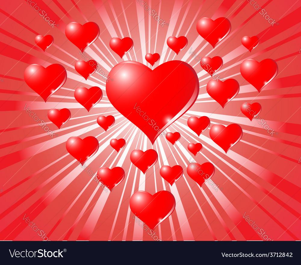 Hearts on sunburst background vector | Price: 1 Credit (USD $1)