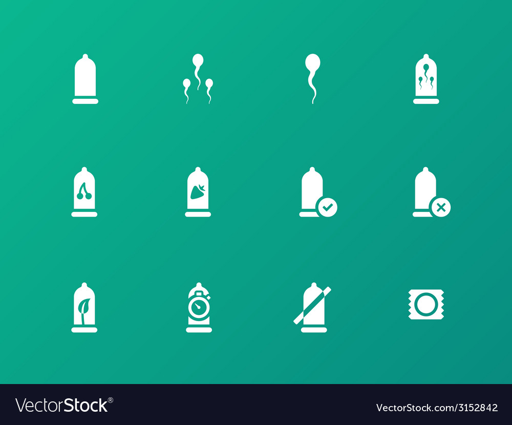Man condoms icons on green background vector | Price: 1 Credit (USD $1)