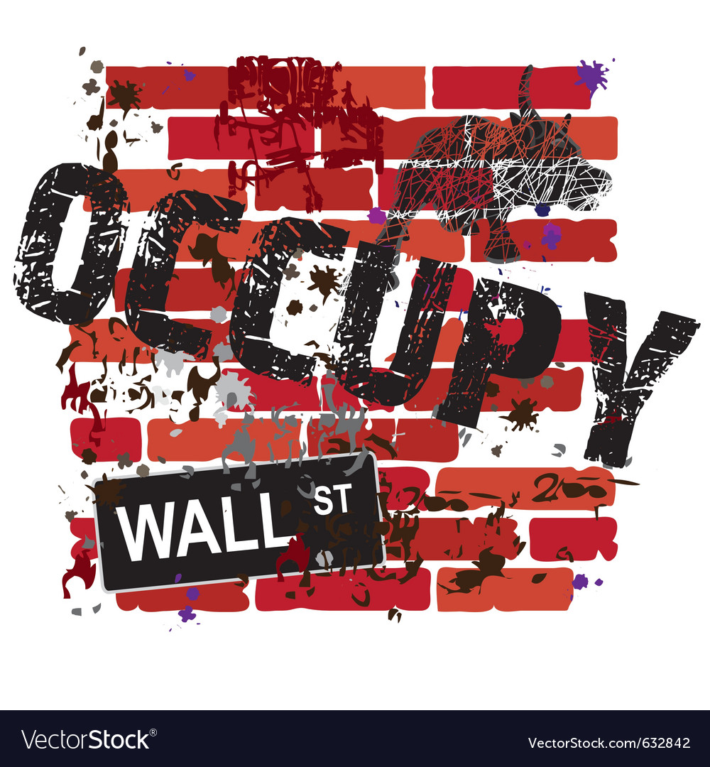 Occupy wall street sign on a grungy brick wall vector | Price: 1 Credit (USD $1)