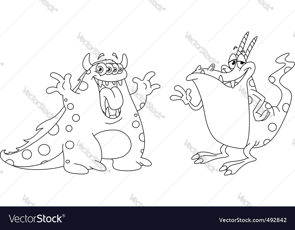 Outlined monsters vector | Price: 1 Credit (USD $1)