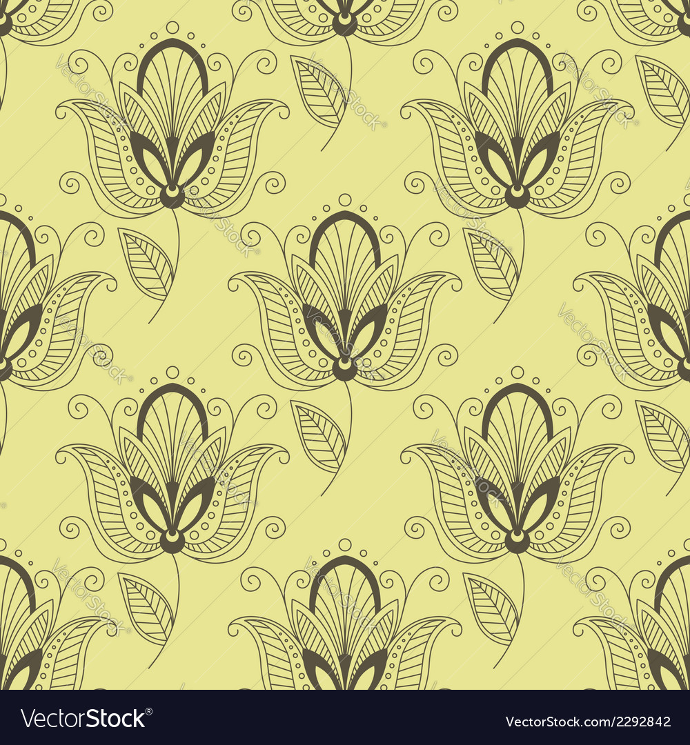 Persian paisley seamless floral pattern vector | Price: 1 Credit (USD $1)