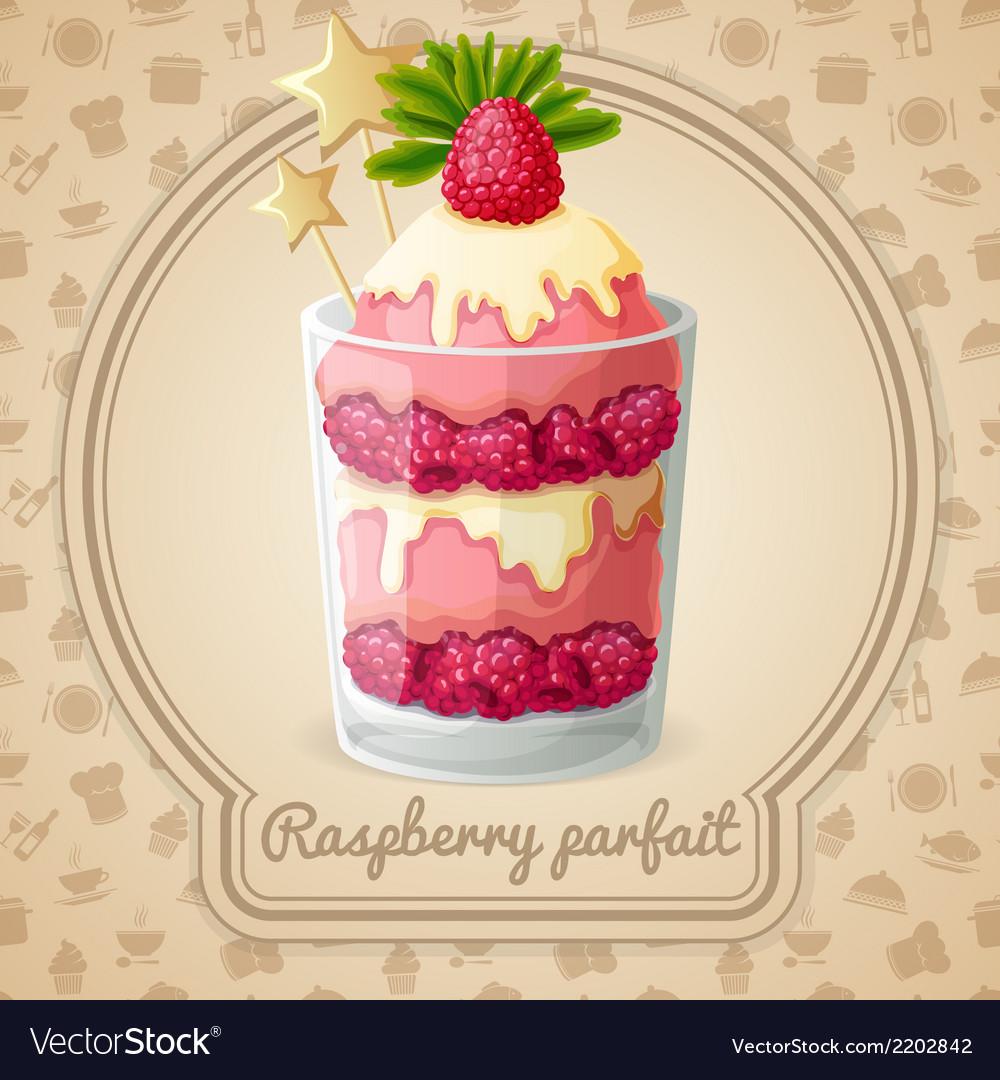 Raspberry parfait emblem vector | Price: 1 Credit (USD $1)