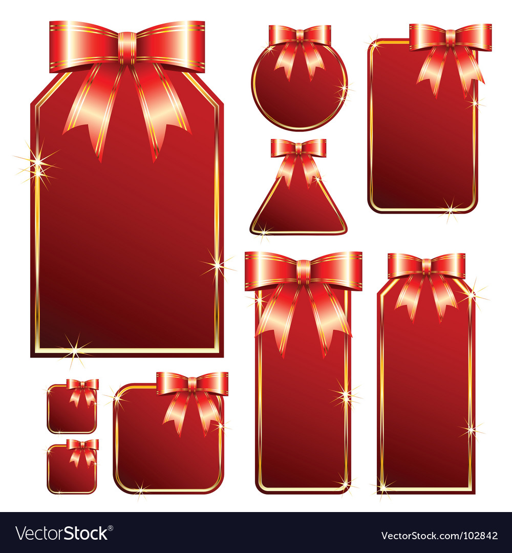 Red tags with bow vector | Price: 1 Credit (USD $1)