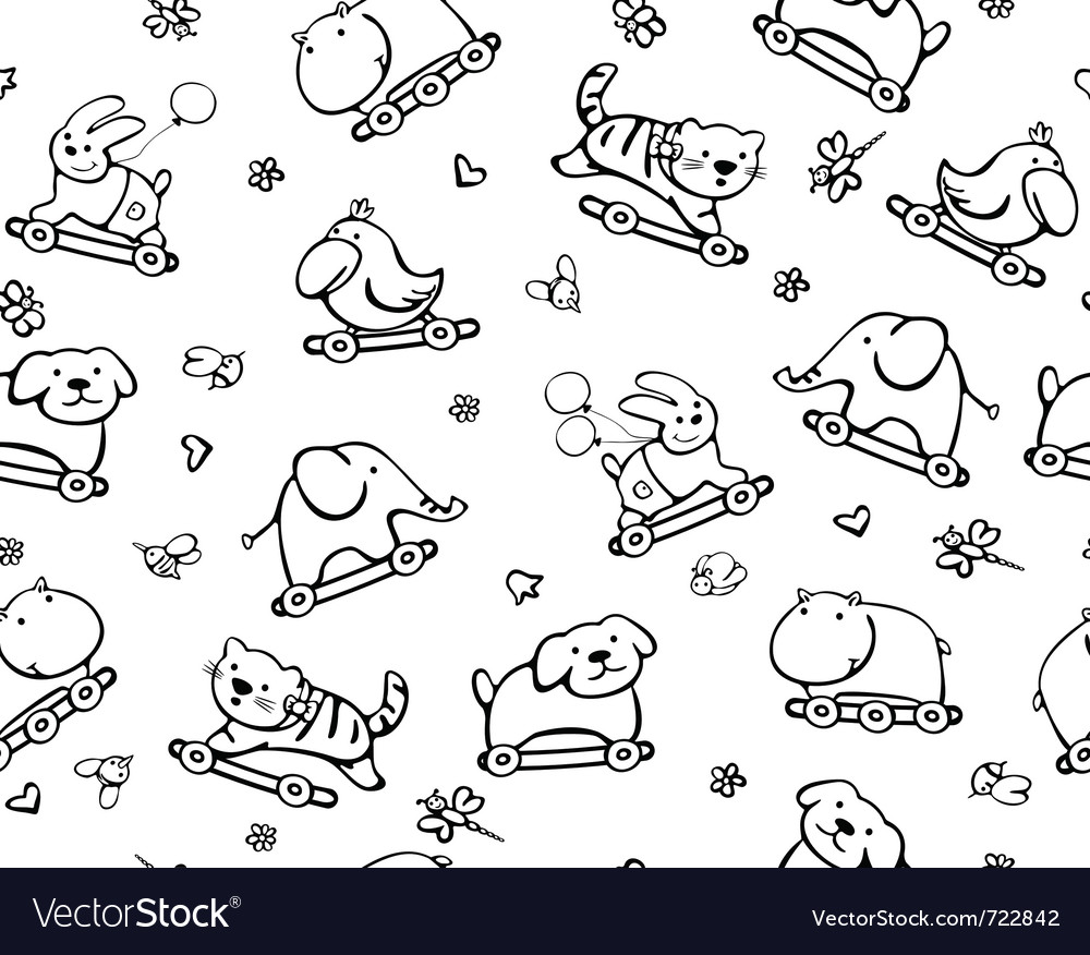 Seamless cute pattern of fun animals vector | Price: 1 Credit (USD $1)