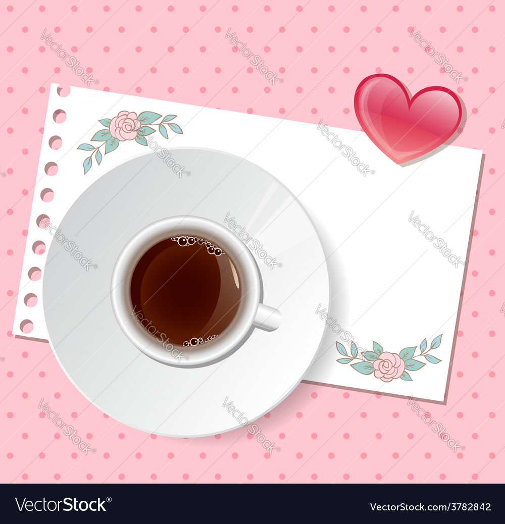 Valentine background with cup of coffee vector | Price: 1 Credit (USD $1)