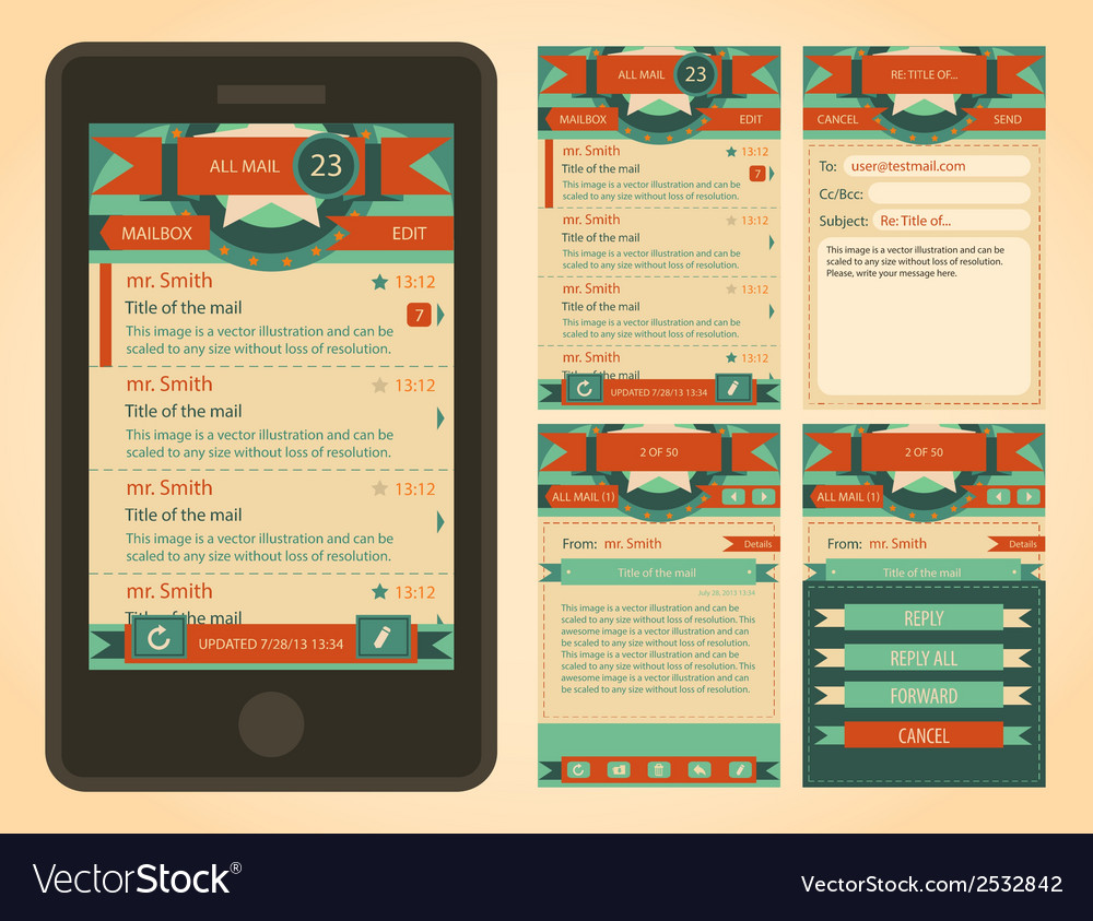 Vintage email interface template vector | Price: 1 Credit (USD $1)