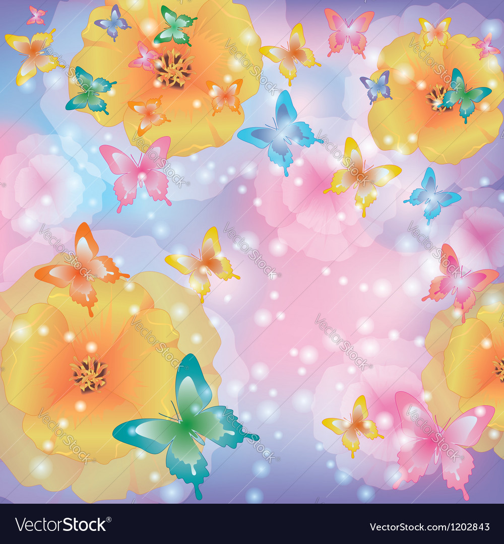 Abstract background with flowers and butterflies vector | Price: 1 Credit (USD $1)