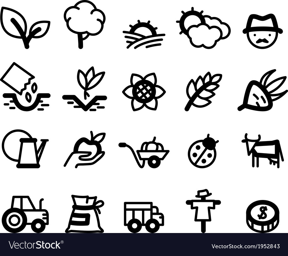Agriculture and farm icons vector | Price: 1 Credit (USD $1)