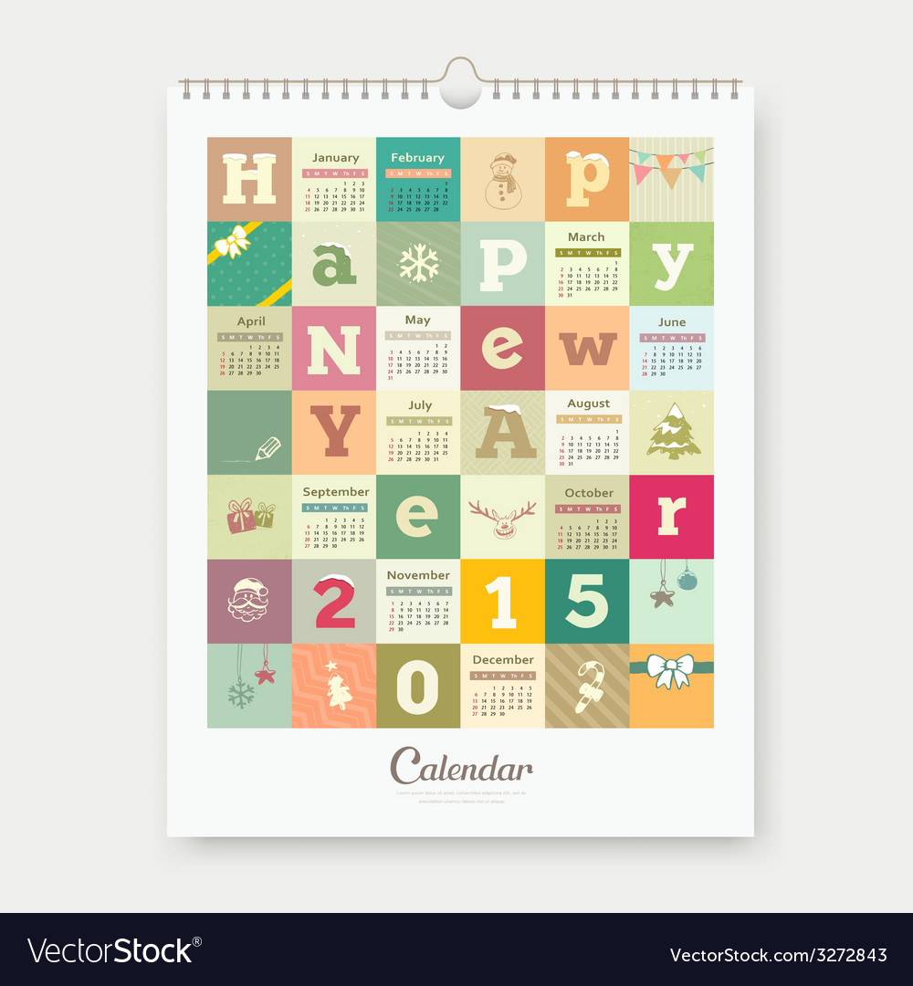 Calendar happy new year text and colorful square vector