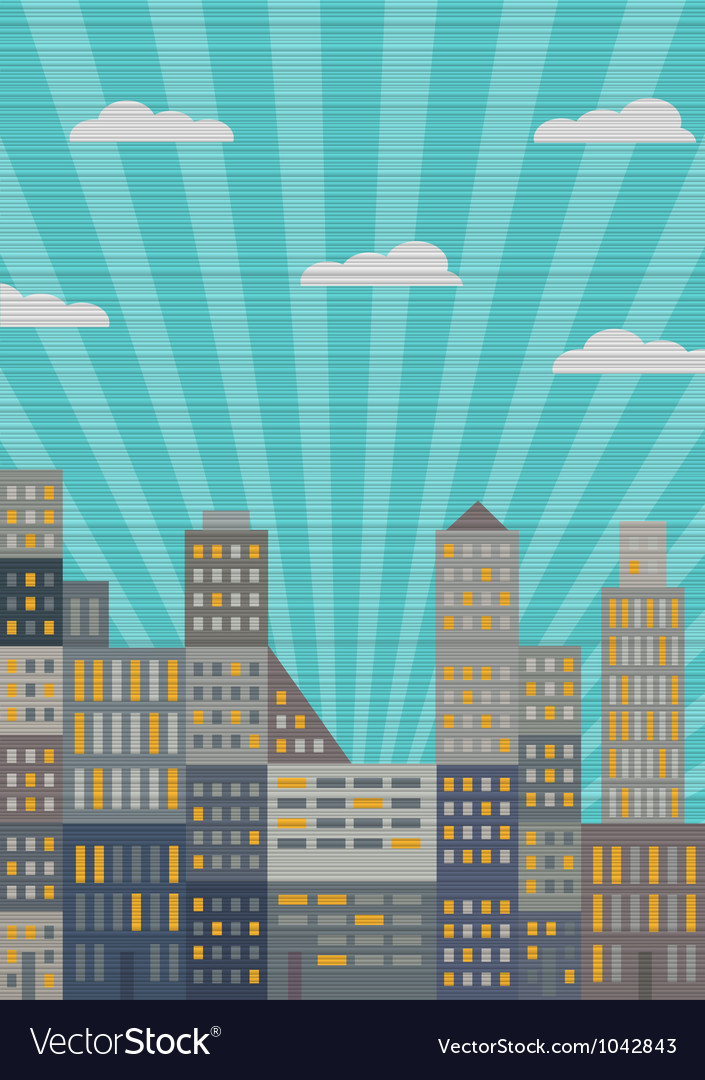 City in retro style vector | Price: 1 Credit (USD $1)