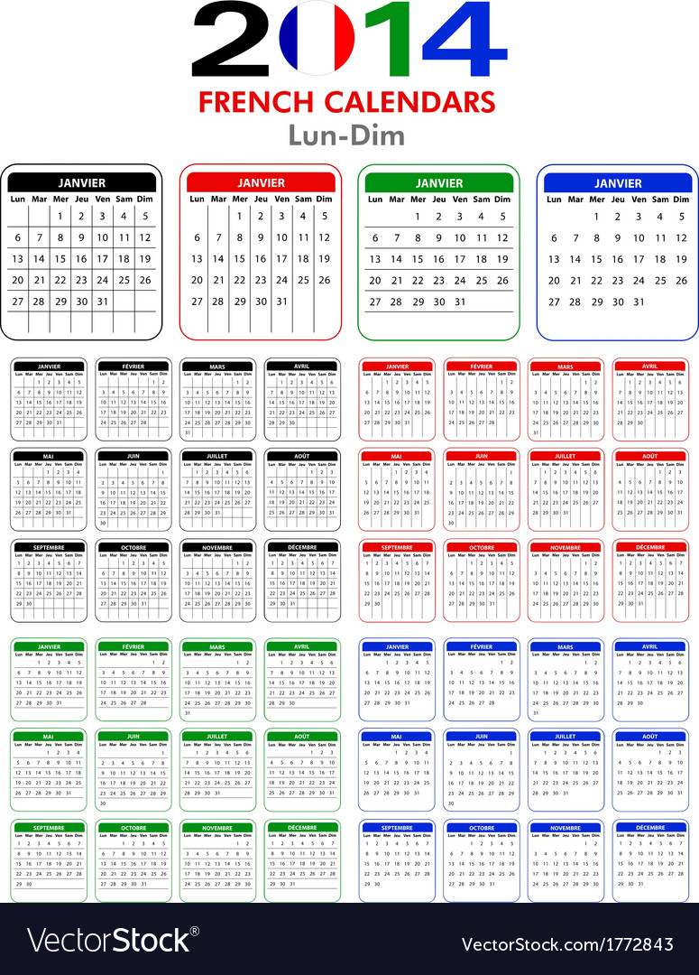 French calendar 2014 vector | Price: 1 Credit (USD $1)