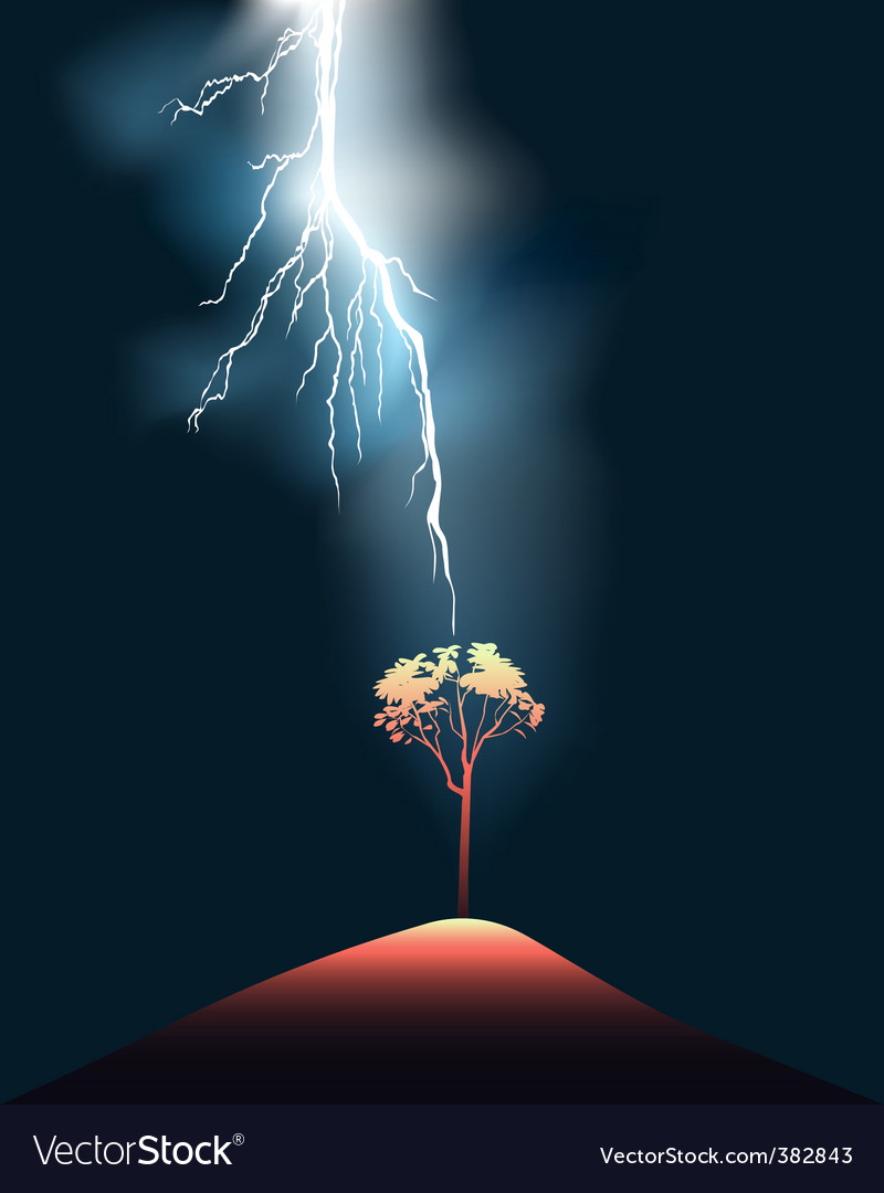 Lightning strikes tree vector | Price: 1 Credit (USD $1)