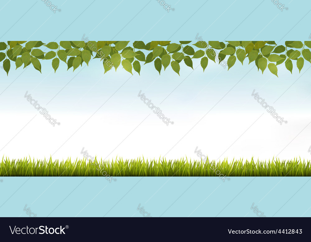 Long white fence banner with grass and leaves vector | Price: 1 Credit (USD $1)