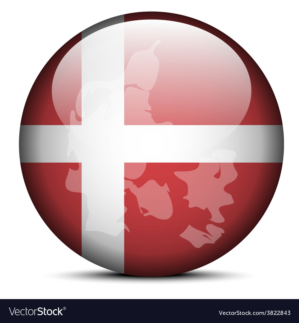 Map on flag button of kingdom of denmark vector