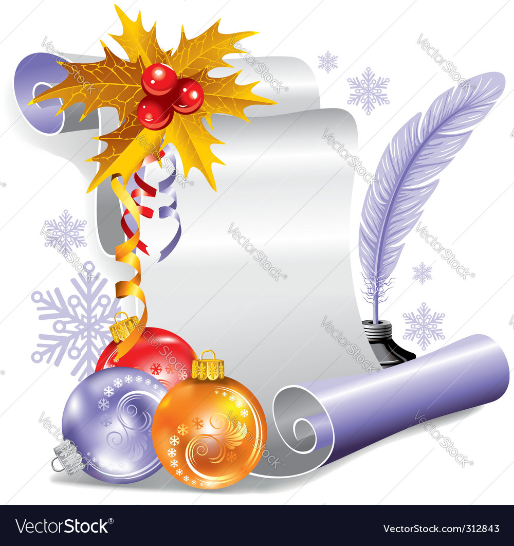 Old scroll for christmas invitation vector | Price: 3 Credit (USD $3)