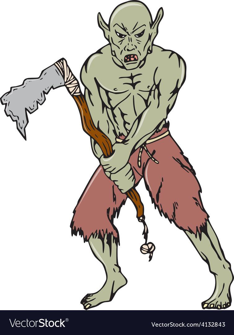 Orc warrior wielding tomahawk cartoon vector | Price: 1 Credit (USD $1)