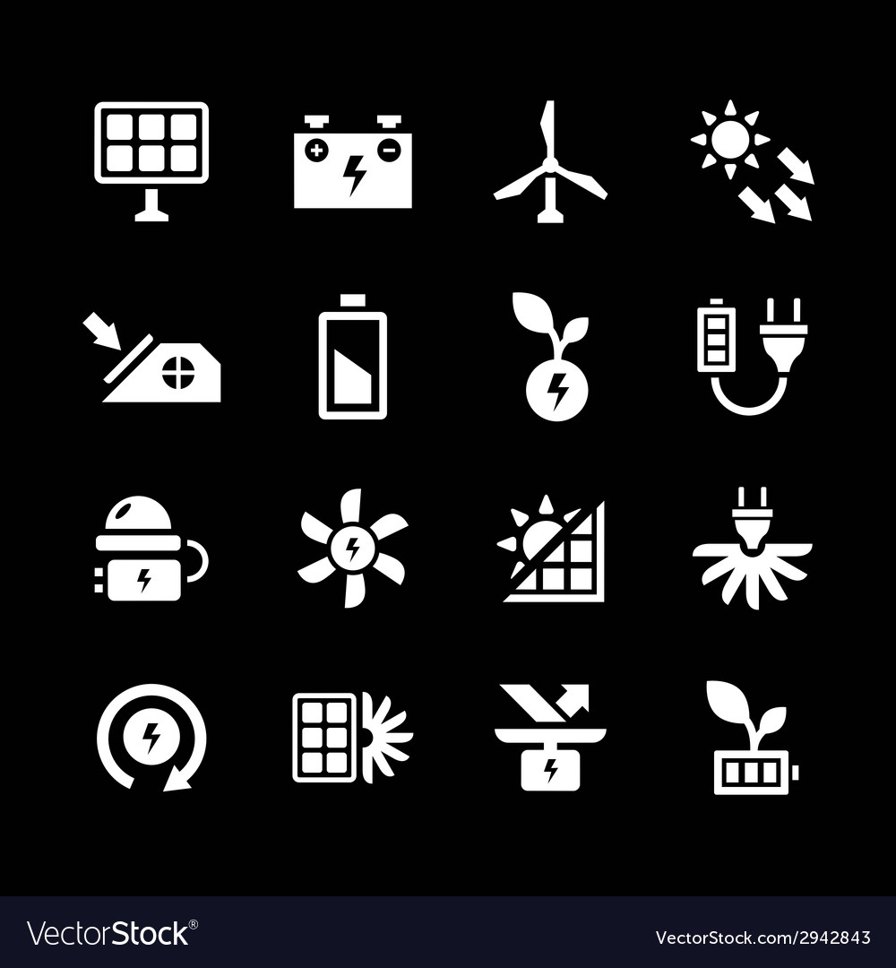 Set icons of alternative energy sources vector | Price: 1 Credit (USD $1)