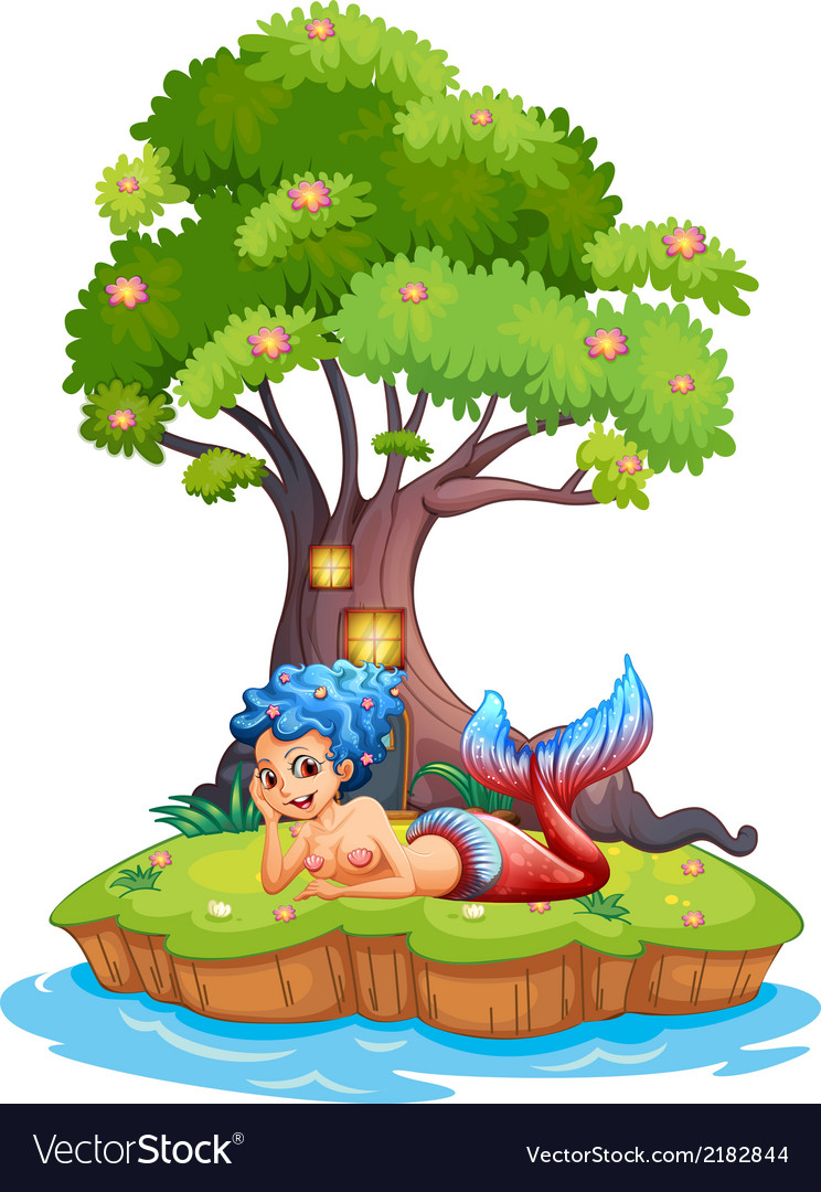A mermaid near the treehouse vector | Price: 1 Credit (USD $1)