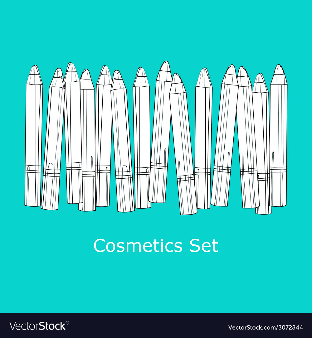 A set of cosmetic pencils vector | Price: 1 Credit (USD $1)