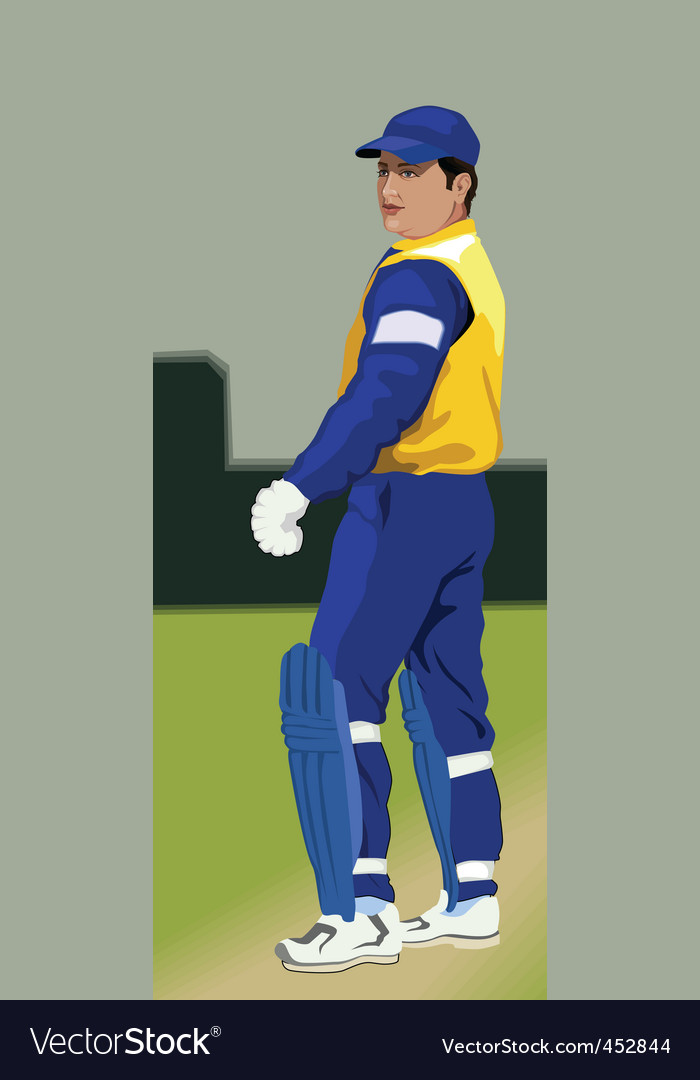 Batsman on pitch vector | Price: 1 Credit (USD $1)