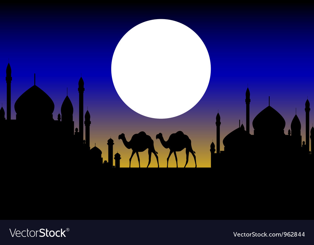Beauty silhouette of camel trip vector | Price: 1 Credit (USD $1)