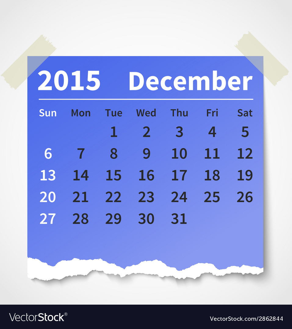 Calendar december 2015 colorful torn paper vector | Price: 1 Credit (USD $1)