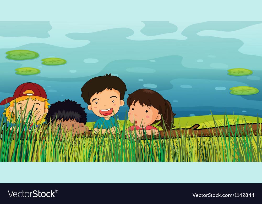 Children peeking vector | Price: 1 Credit (USD $1)