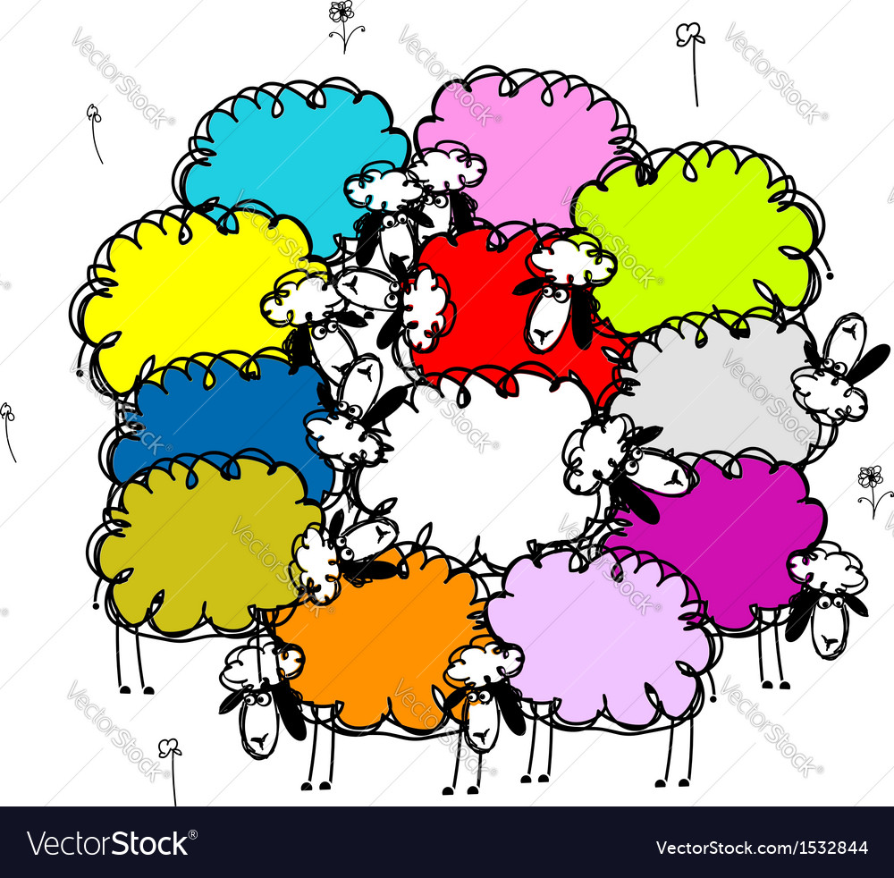 Flock of colored sheeps sketch for your design vector | Price: 1 Credit (USD $1)