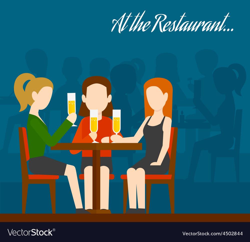 Friends meeting in restaurant vector | Price: 1 Credit (USD $1)