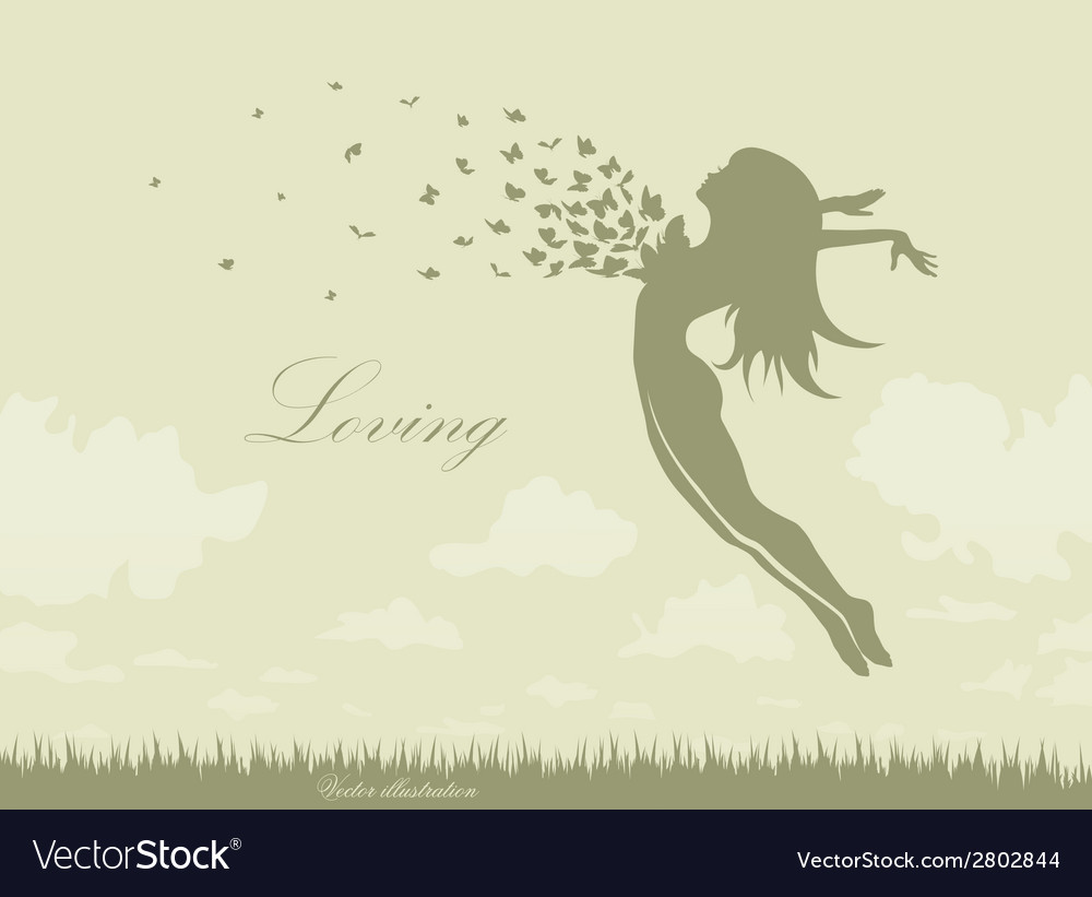 Girl with butterflies in a jump vector | Price: 1 Credit (USD $1)