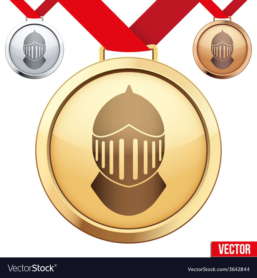Gold medal with the symbol of a knight inside vector | Price: 1 Credit (USD $1)