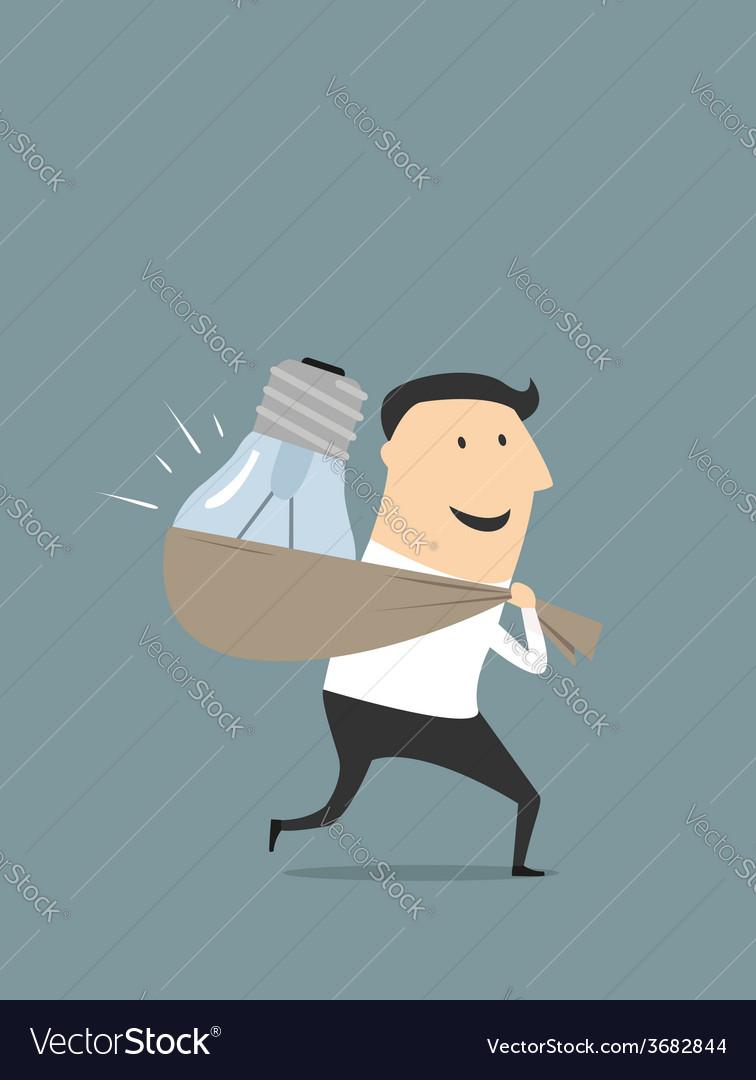 Happy cartoon businessman with stolen idea vector   Price: 1 Credit (USD $1)