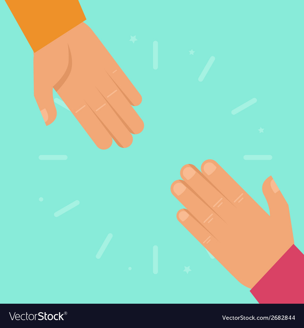 Helping hands in flat style vector