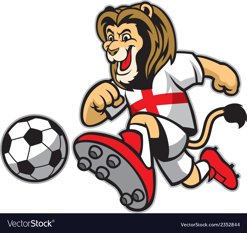 Lion playing soccer vector | Price: 1 Credit (USD $1)