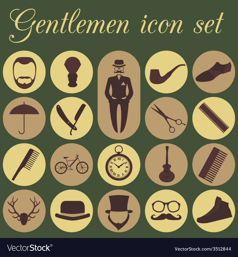 Set of vintage barber hairstyle and gentlemen icon vector | Price: 1 Credit (USD $1)