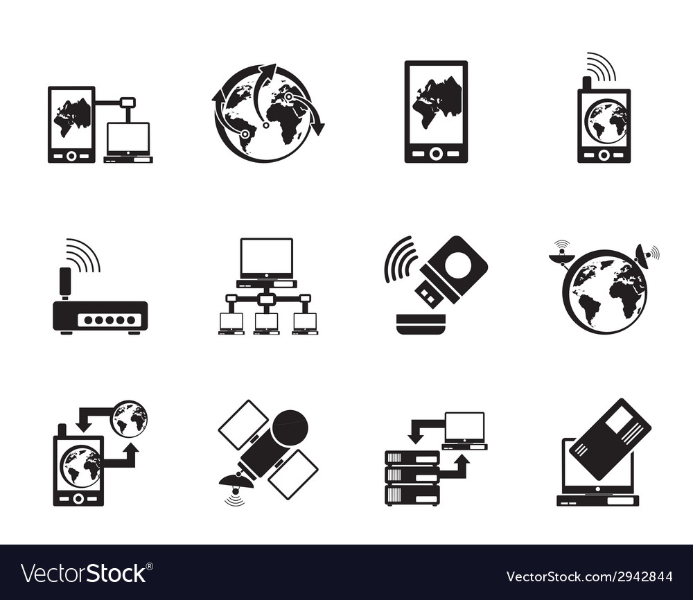 Silhouette communication and mobile phone icons vector | Price: 1 Credit (USD $1)