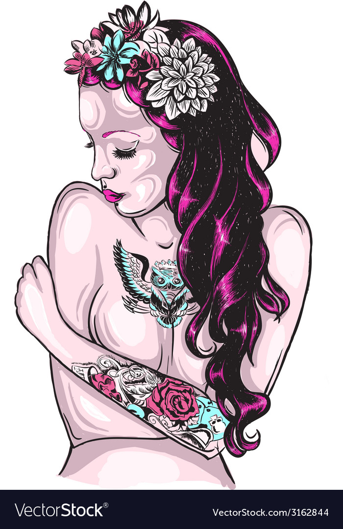 Tattooed lady vector | Price: 1 Credit (USD $1)